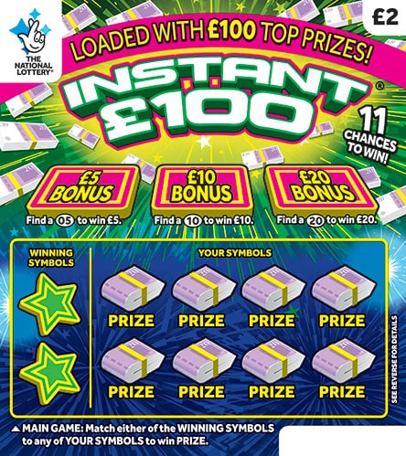 Instant £100 National Lottery Scratchcard March 2020