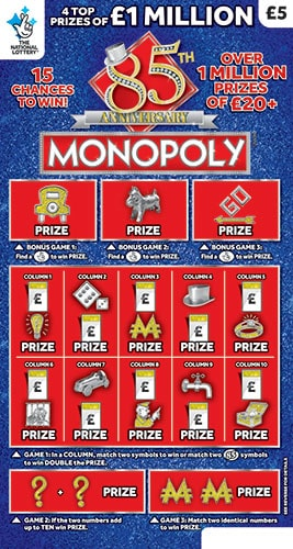 Monopoly 85th Anniversary National Lottery Scratchcard March 2020